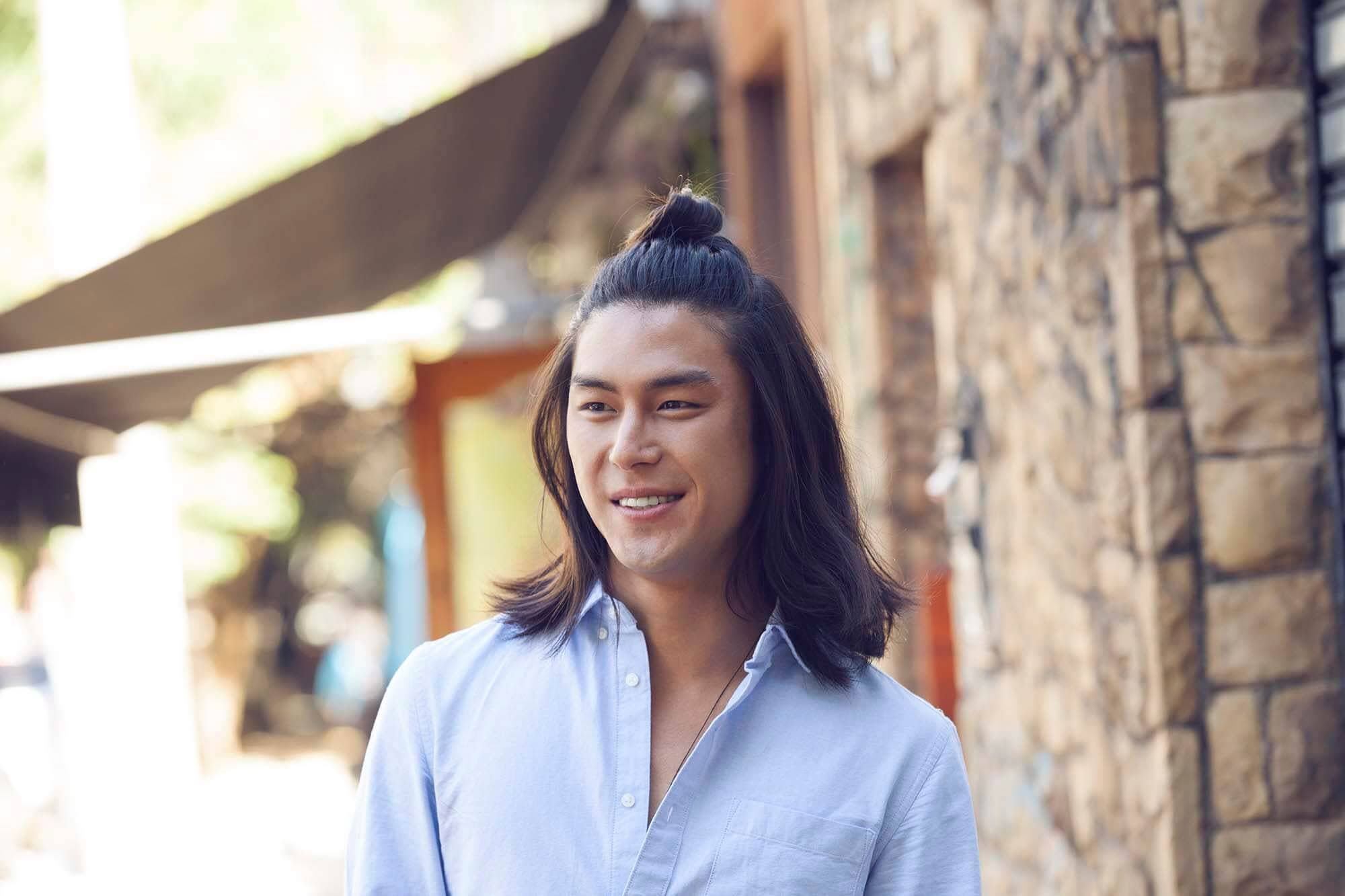 half up man bun asian men