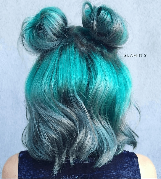 green wavy hair with mini buns