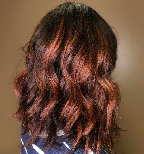 Woman With A Subtle Copper Hair Colour Mixed Her Naturally Dark