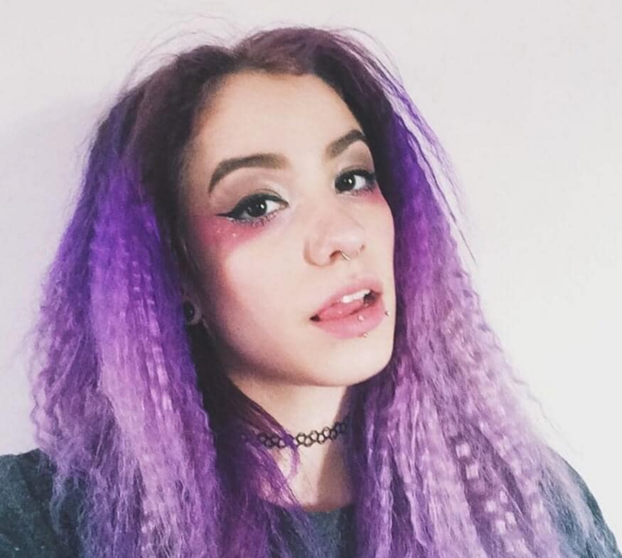 purple ombre crimped hair women