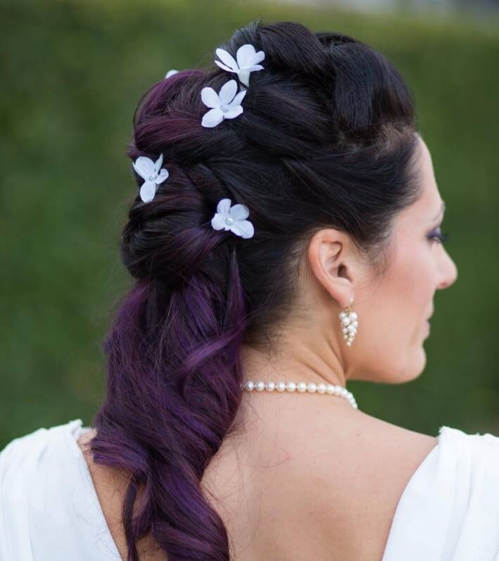 purple ombre hair updo
