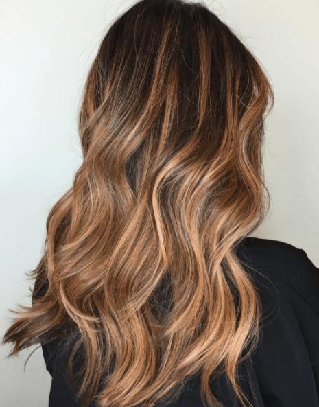 Rose gold balayage for brown hair