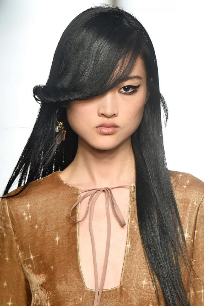side swept bangs long hairstyles for round faces