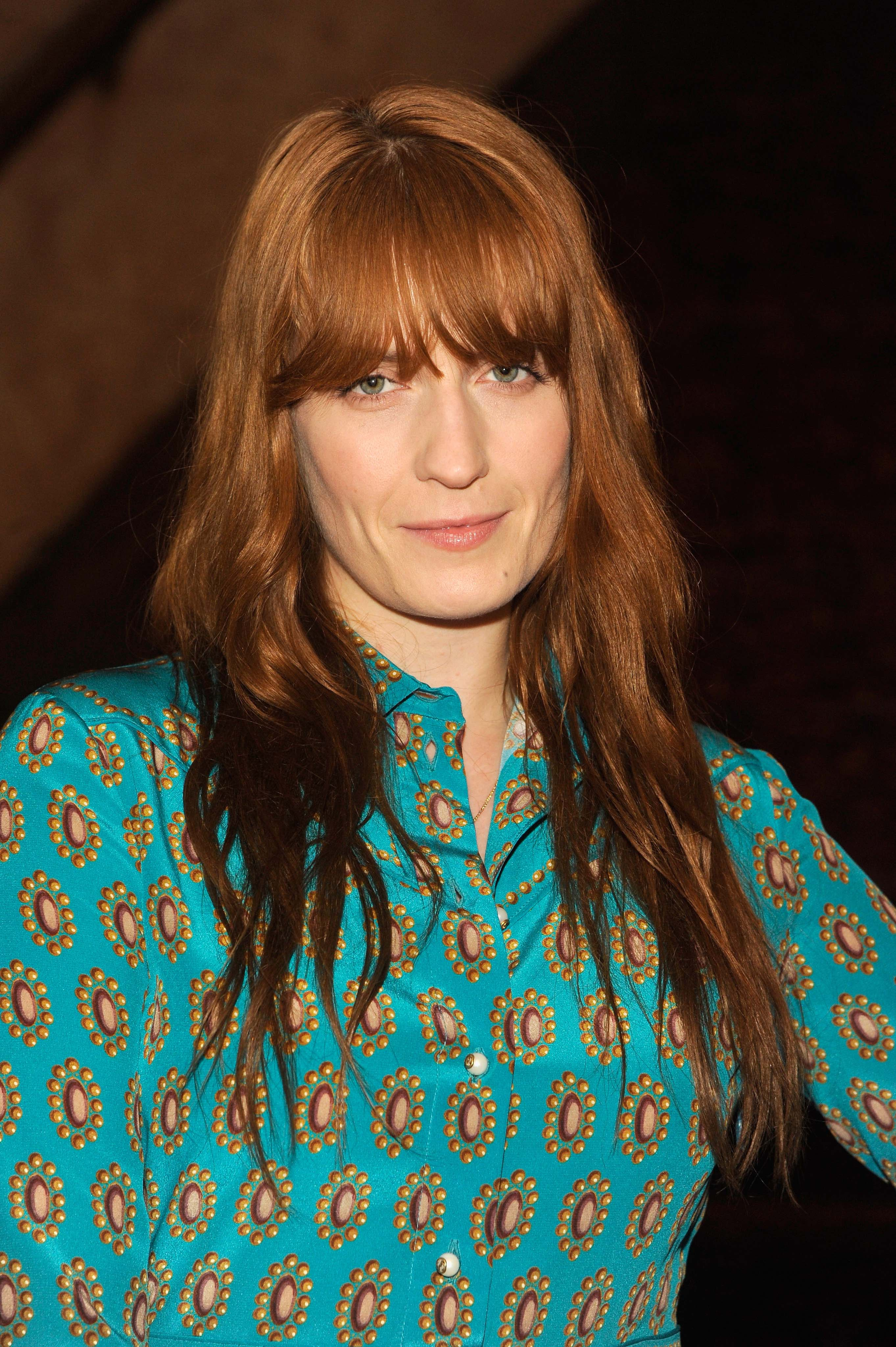 Florence Welch long auburn hair