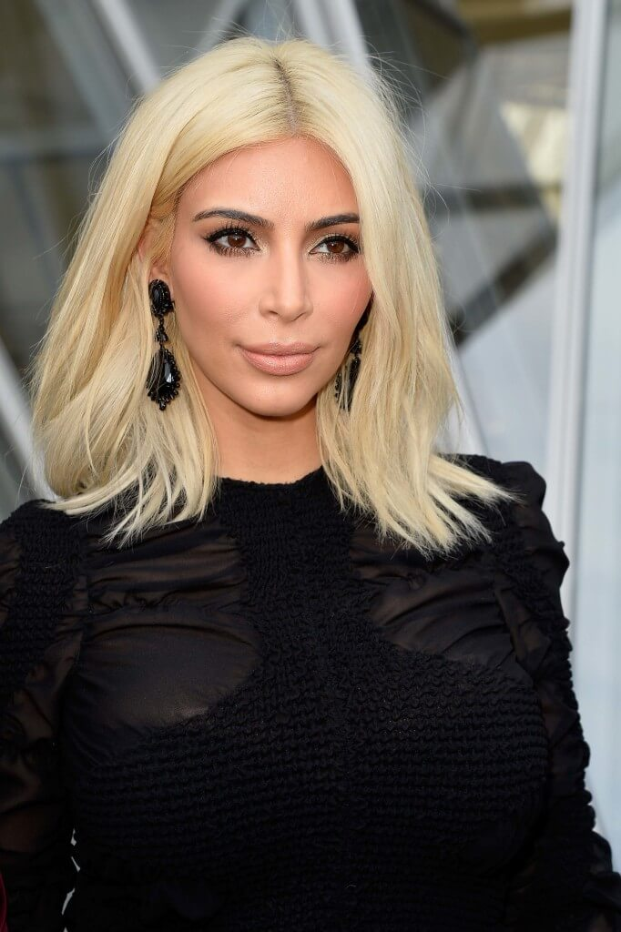 Bleach blonde hair Kim Kardashian