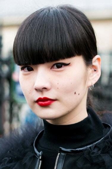 blunt bangs fringe styles Japanese straightening treatments