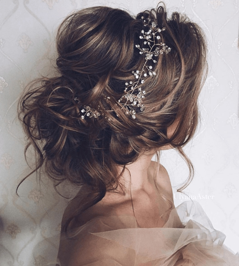 Bridal hair made easy 5 foolproof styles perfect for your big day messy brial updo with crown like hair accessory junglespirit Gallery