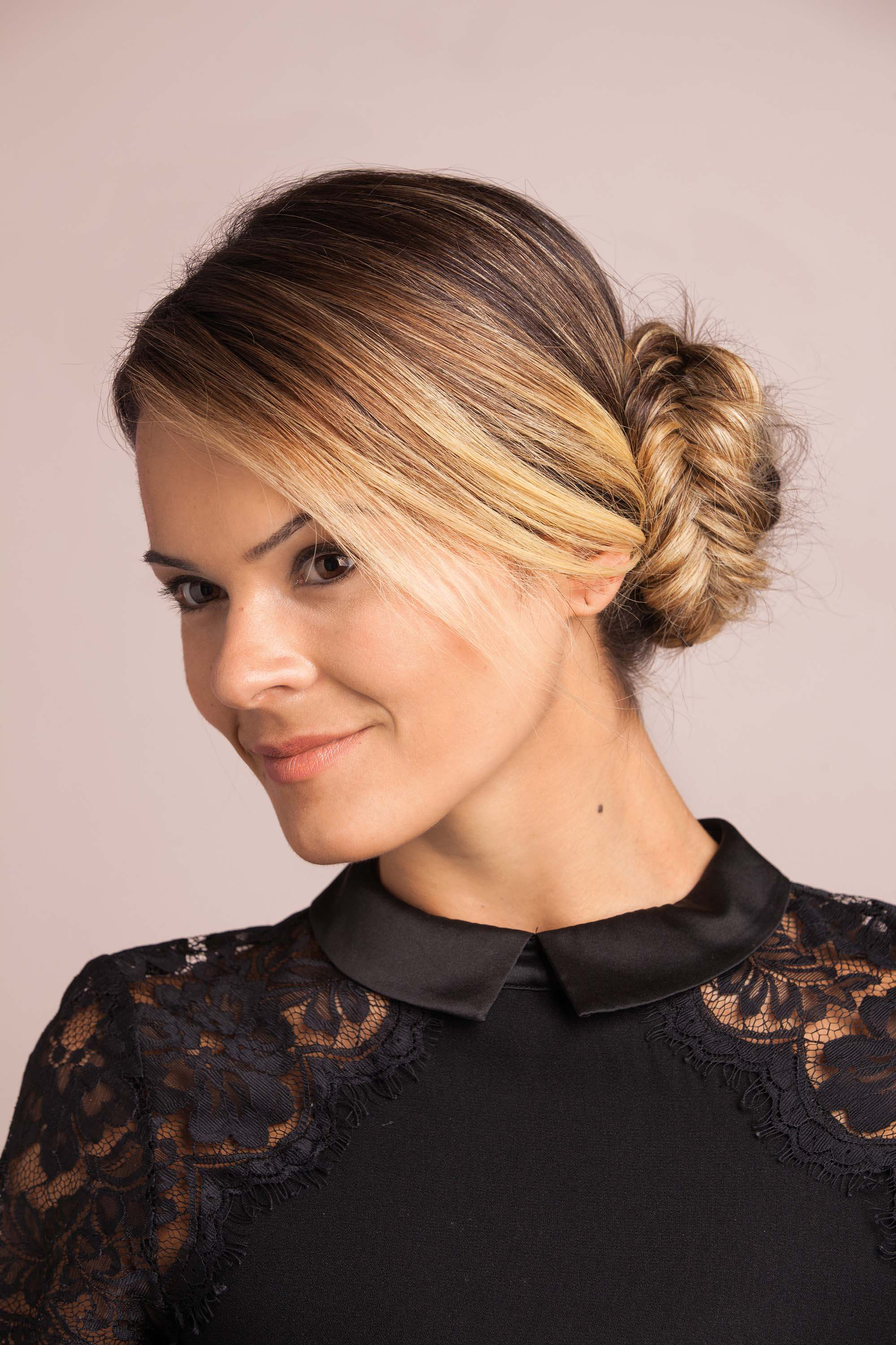 fishtail bun easy prom hairstyles