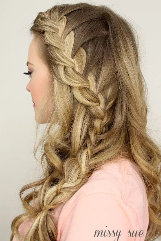 French braids hairstyles: Missy Sue with a side French plait hairstyle