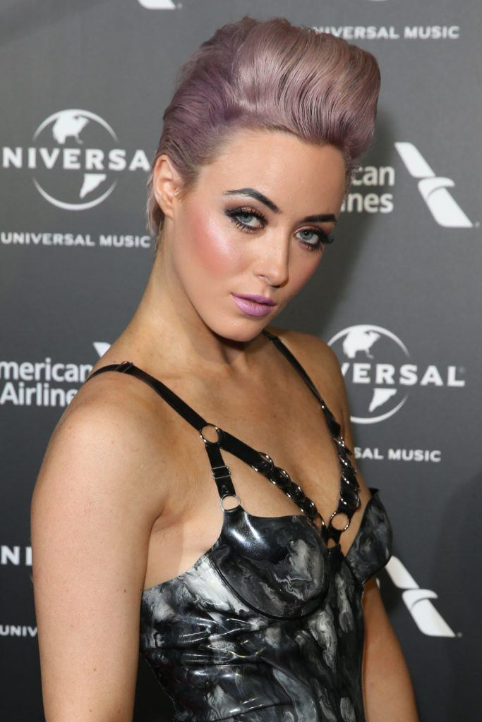 hatty keane with purple hair on the red carpet
