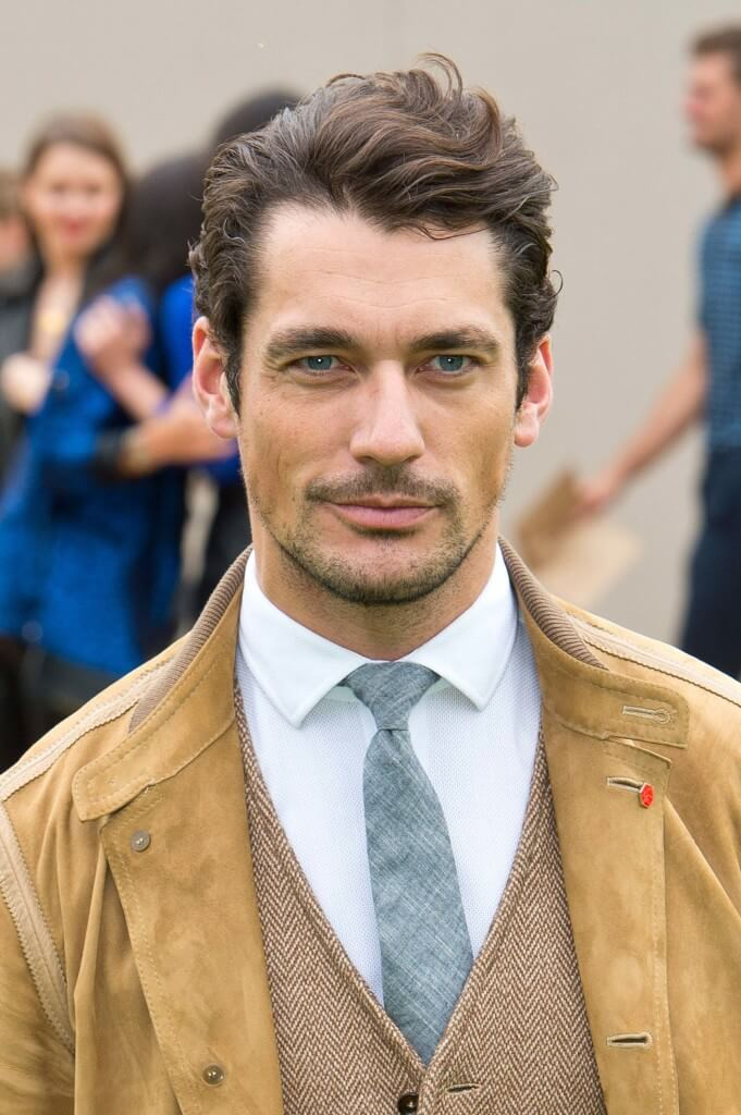 david gandy with wavy hair worn in a quiff