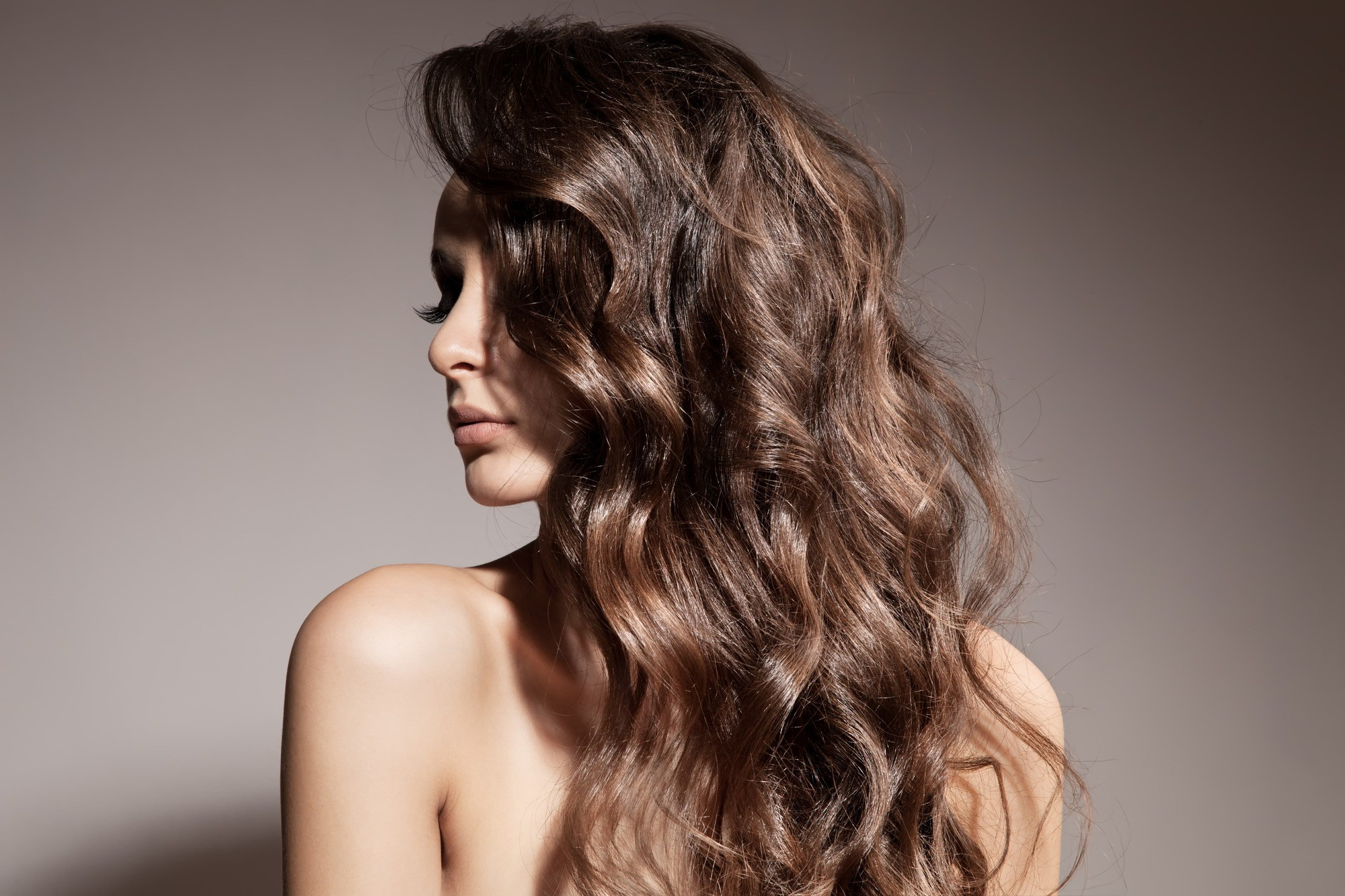 Long brown hair with medium sized curls