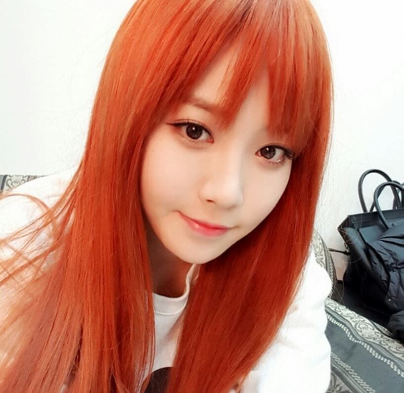 choppy fringe red hair korean hair