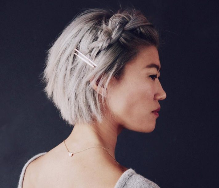 woman with braided short choppy hairstyle