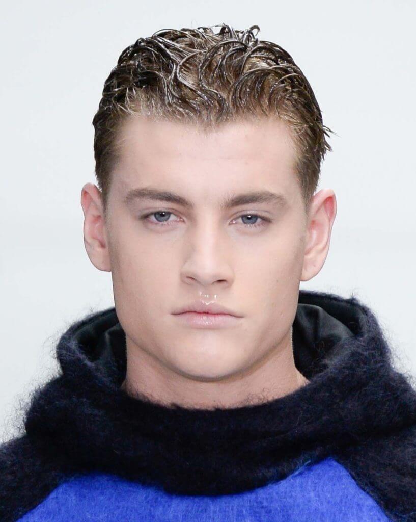 best men's hairstyles Light brown wet look