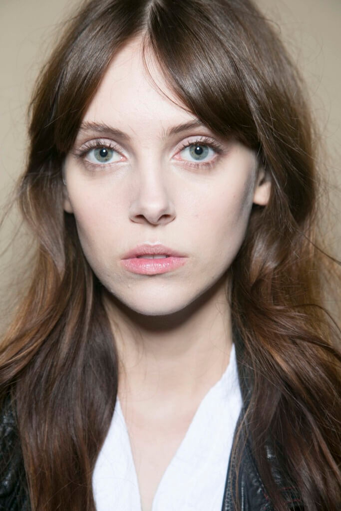 parted fringe mid length hair