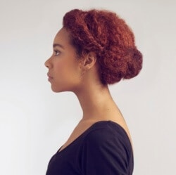 styles for curly hair natural black texture in a casual bun