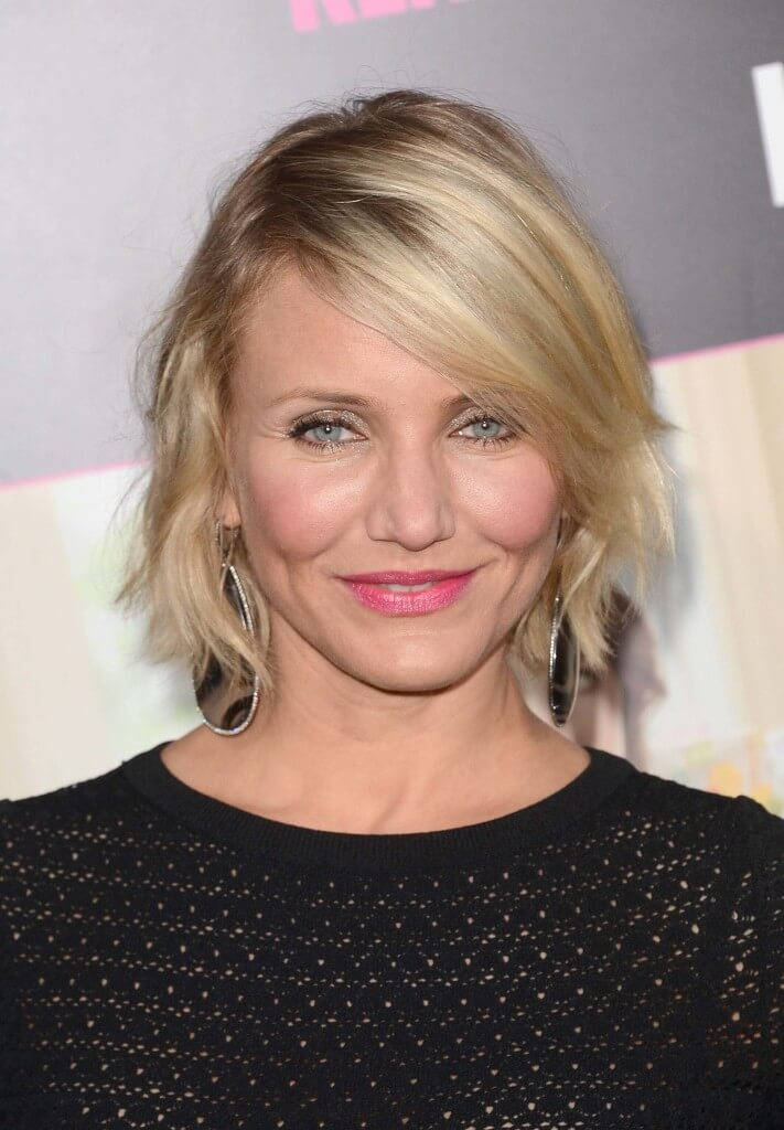 Short fringe hairstyles for square faces Cameron Diaz