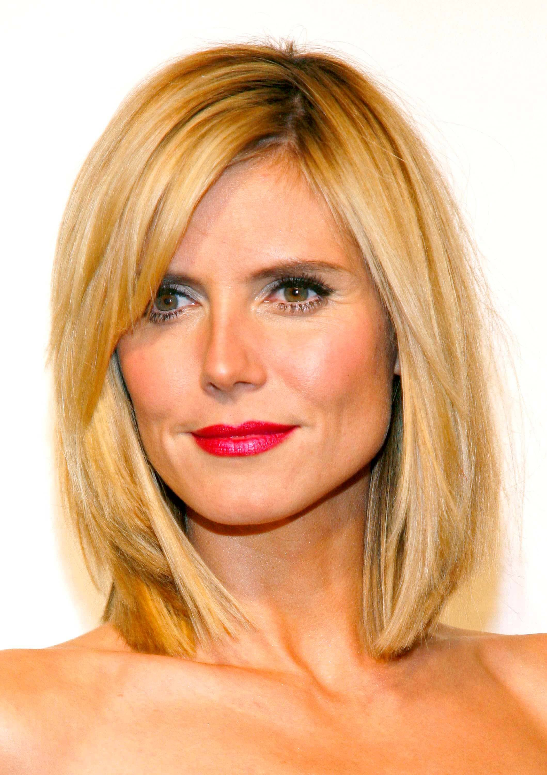 layered bob hairstyle for square faces heidi klum