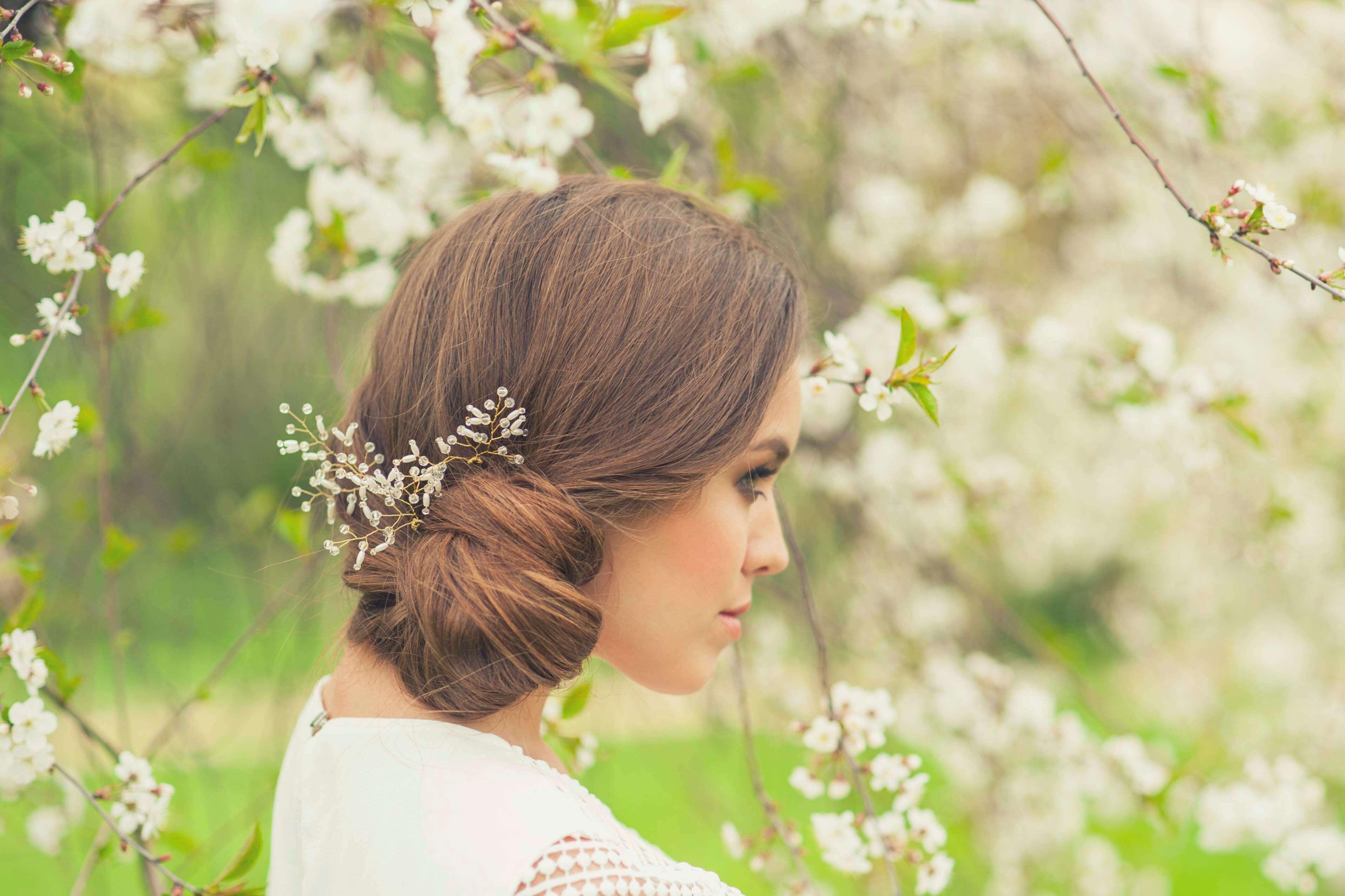 dark wedding hair side chignon