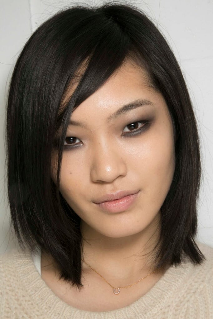 Asian bob haircut with side fringe
