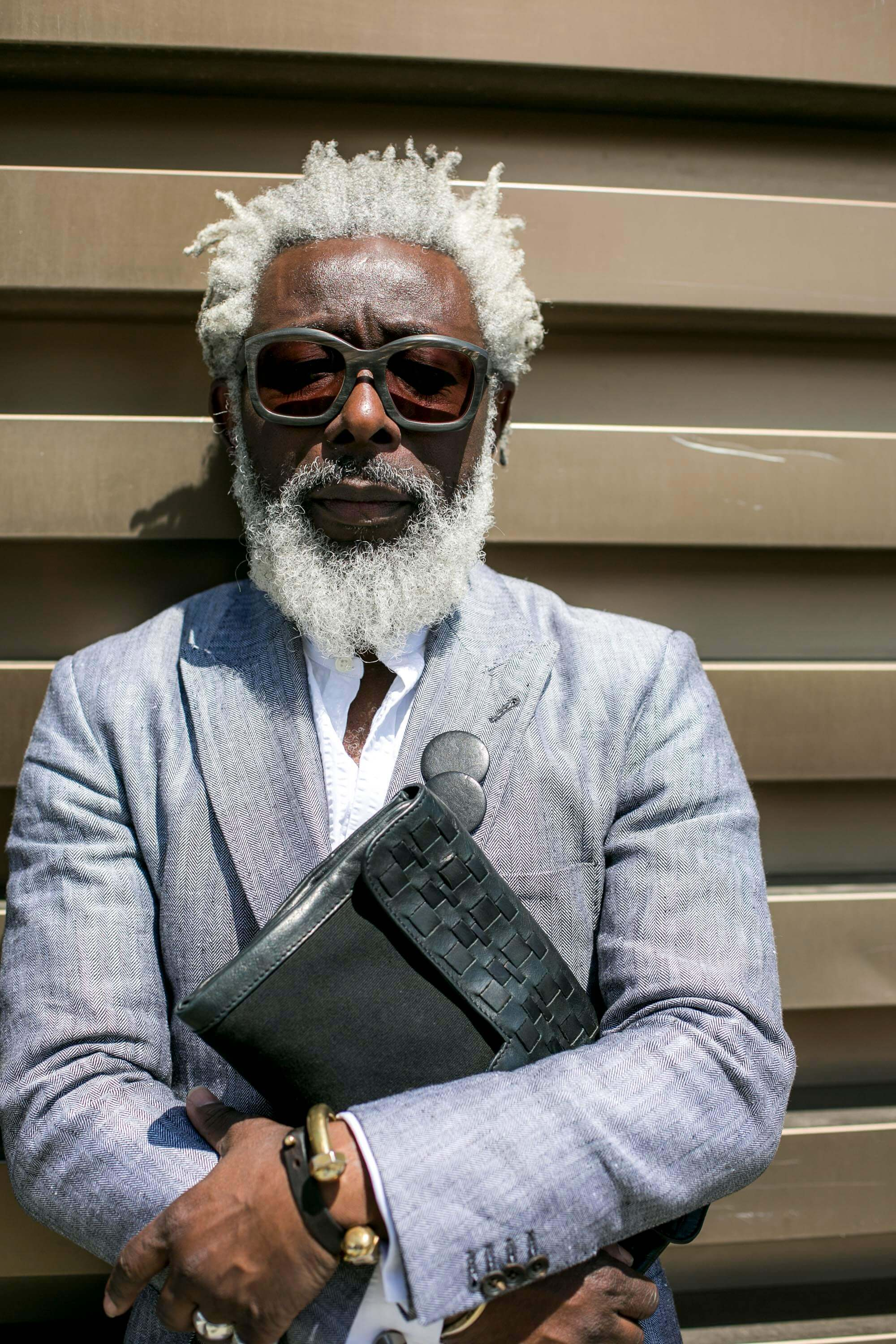 Men's hair trends black man with white beard and dreads