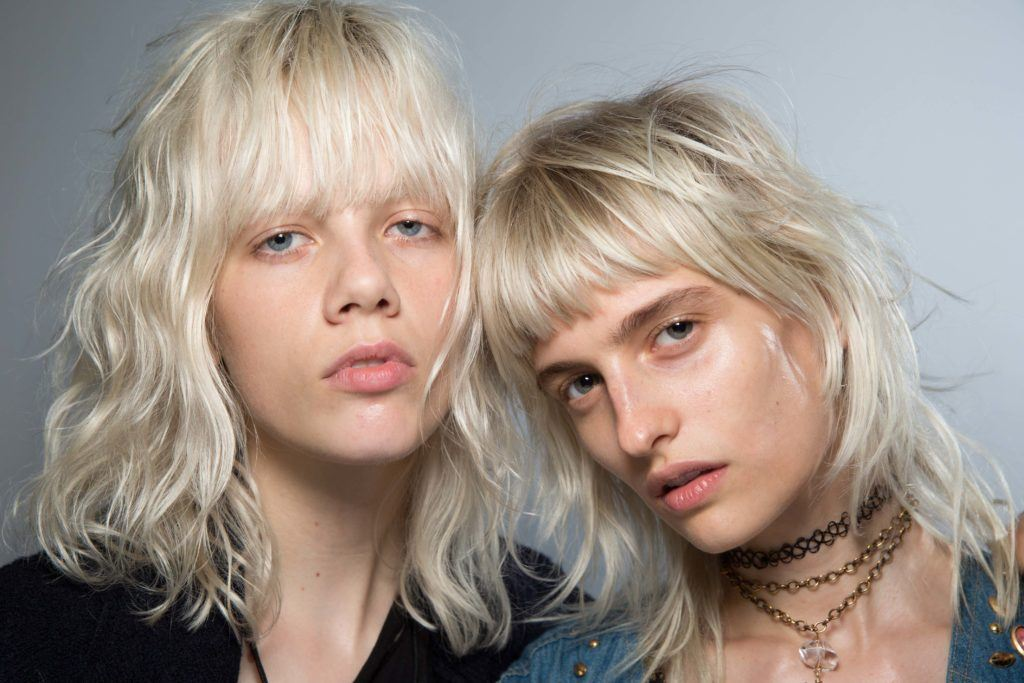 short sexy hairstyles: platinum blonde models rock short sexy hair with bangs