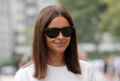 Miroslava Duma with medium-length sleek blunt haircut