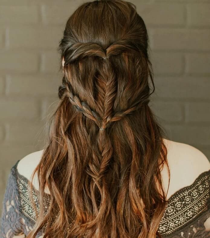 Game of thrones hairstyles: Back view of a woman with long brown hair in Game of Thrones inspired braids