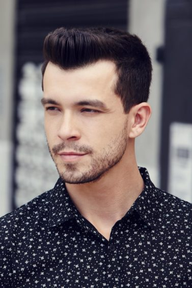 Short sides, long top hairstyles: textured quiff