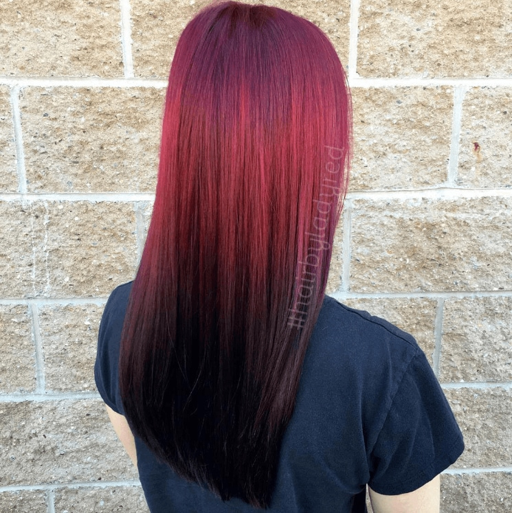 long red reverse ombre hair