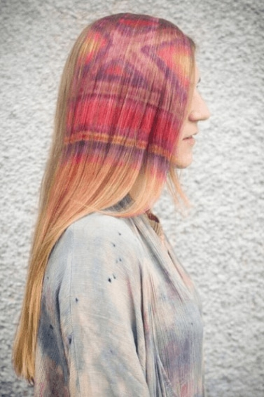 Blonde stencil hair criss cross and stripes