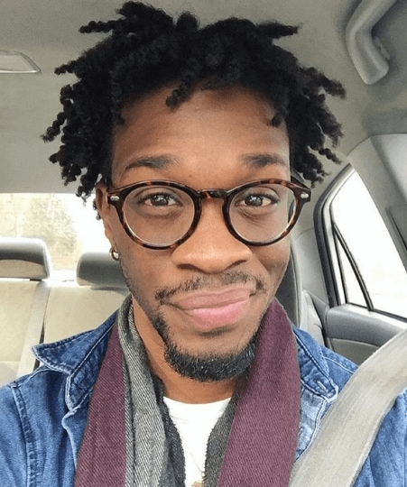 Front View Image Of A Black Man With Glasses And Twist Out Hair   Black