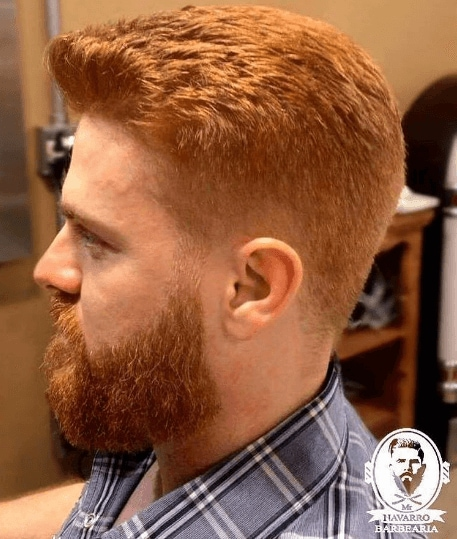 classic red head men's fade cut