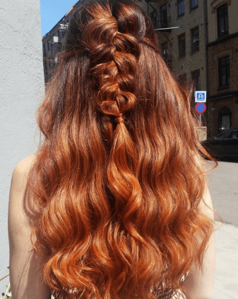 red ombre hair with a braid