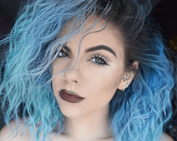 girl with blue teal green mermaid ombre hair colours