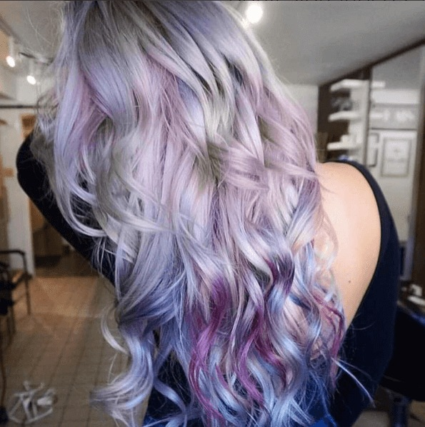 purple blue ombre on long blonde hair
