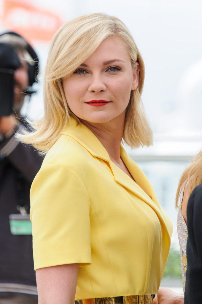 Kirsten Dunst with blonde in a long bob style