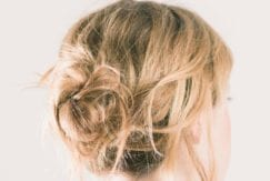 Blonde textured low bun