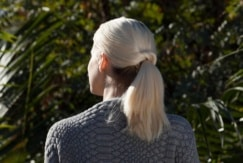 Blonde twisted ponytail complete look