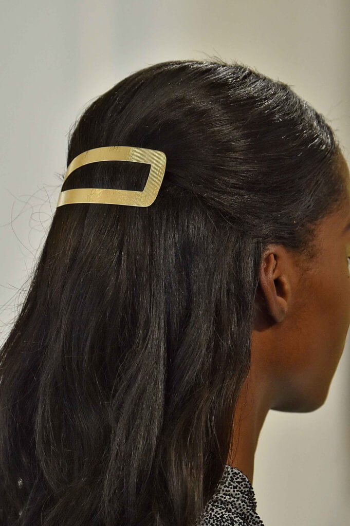 Extra large hair clip in black hair