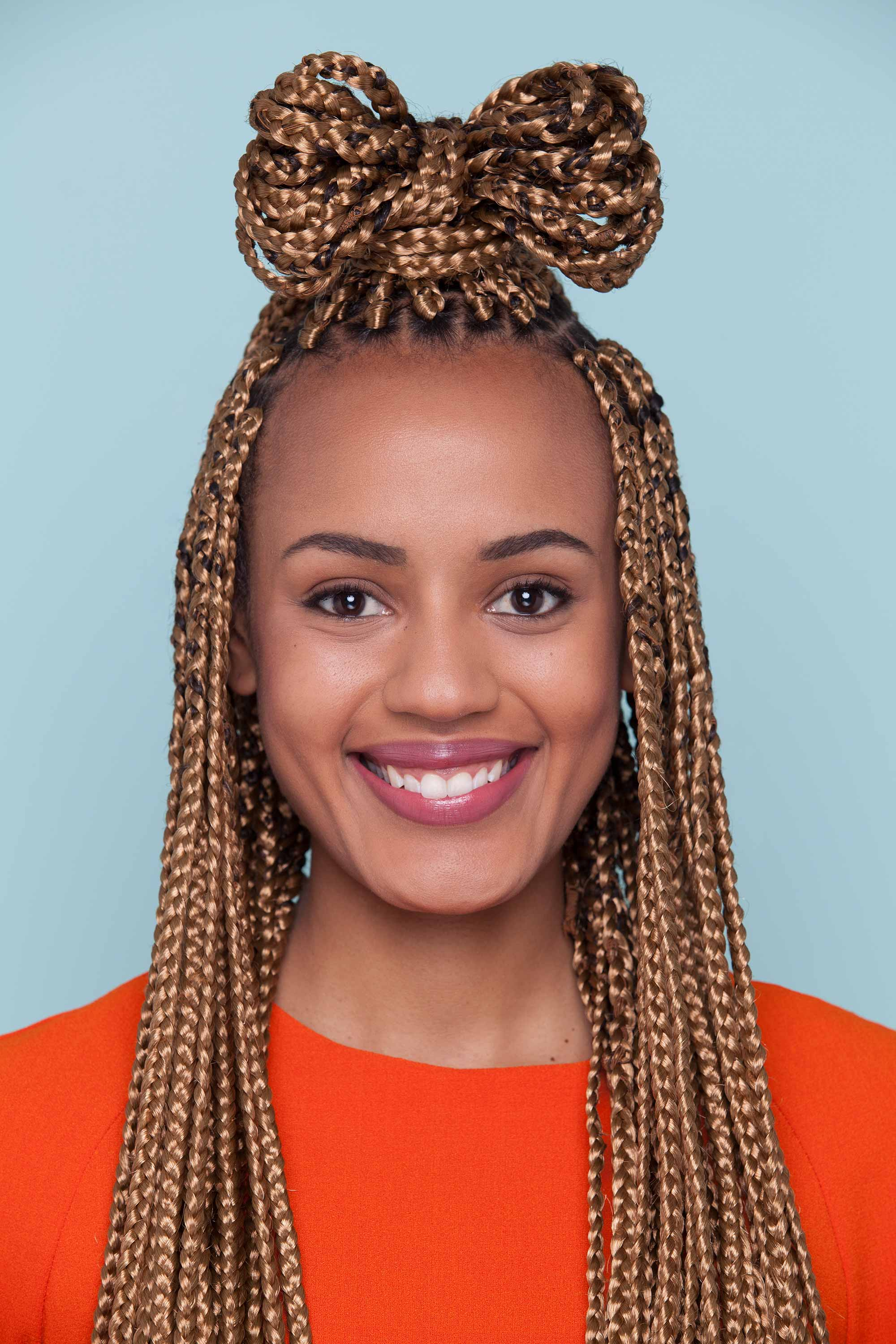 how to do a hair bow with box braids