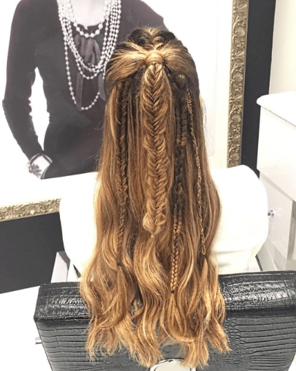 hairstyles for wavy hair: back view woman with blonde hair and a set of fishtail braids and waves