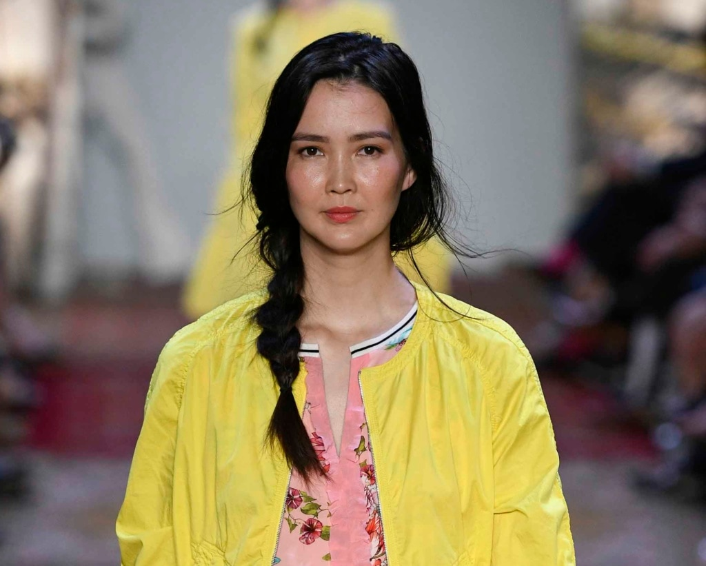 Asian model with loose side braid from Marc Cain SS17 catwalk