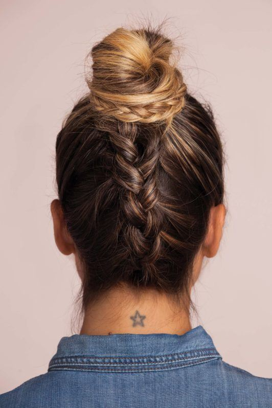 braided top knot bun - the final look from the back
