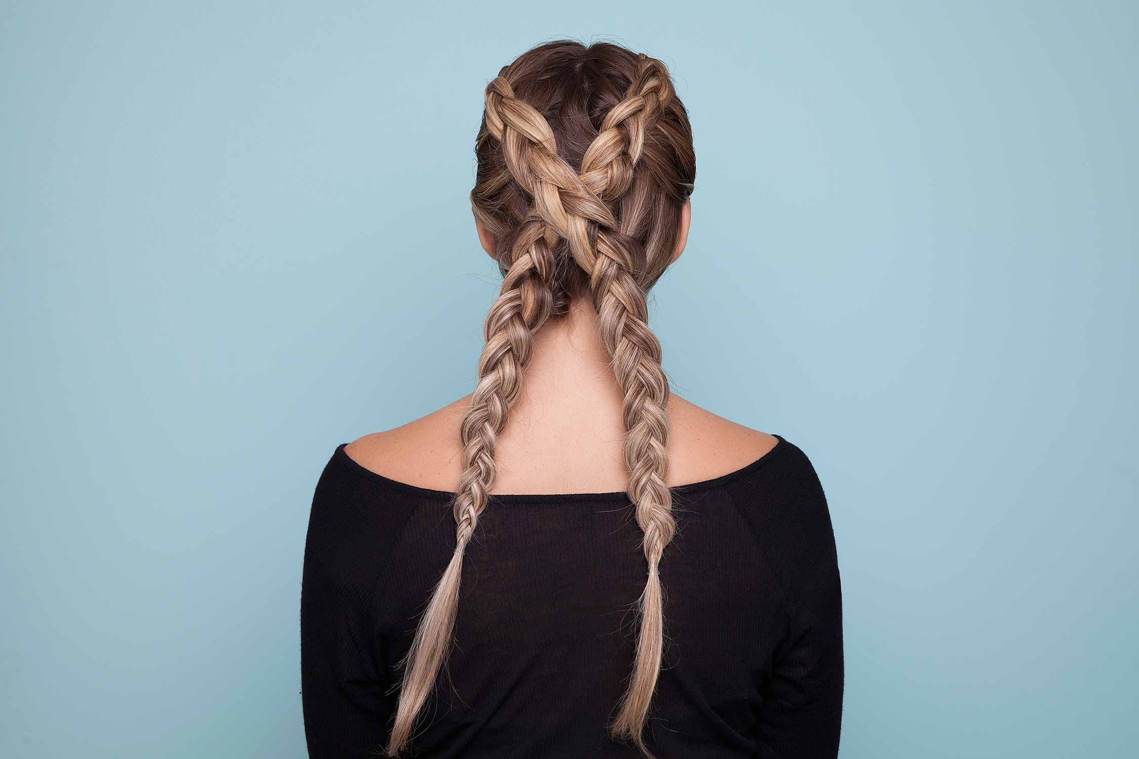 Long straight hair ideas: cross braid