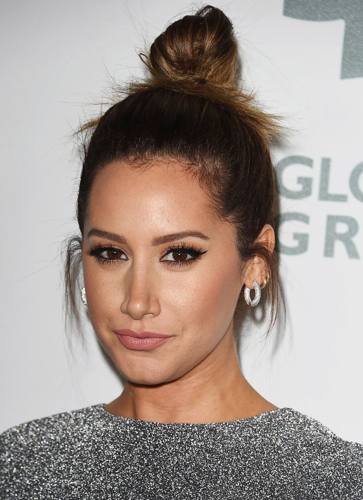easy hair buns: ashley tisdale with octpus bun hairstyle on dirty blonde hair