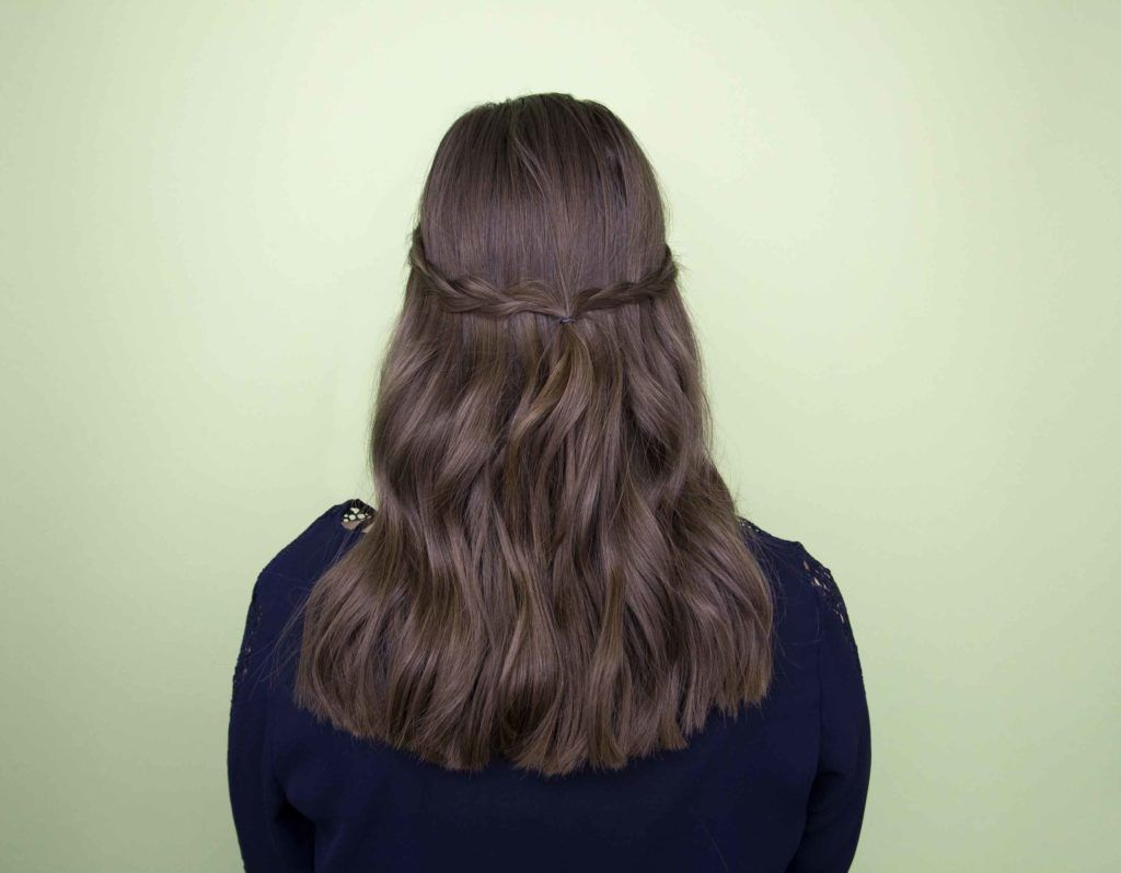 back view of brunette model with a meet-in-the-middle plait