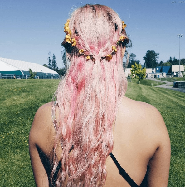 pastel pink festival hair with flower garland
