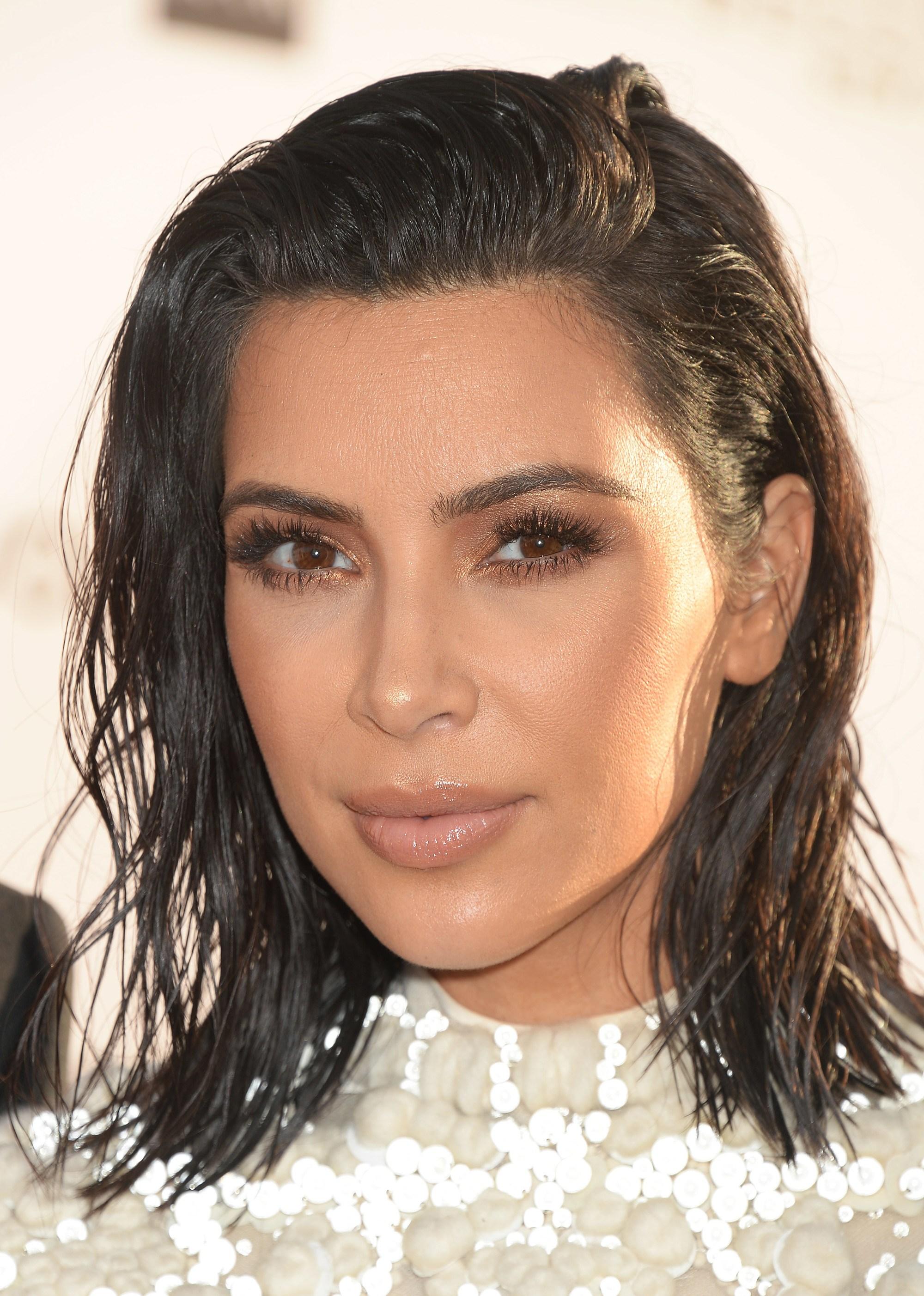 Kim Kardashian dark long bob wet look shag